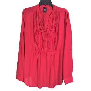 Torrid Size 2X Red Tunic Top Semi Sheer Roll Tab